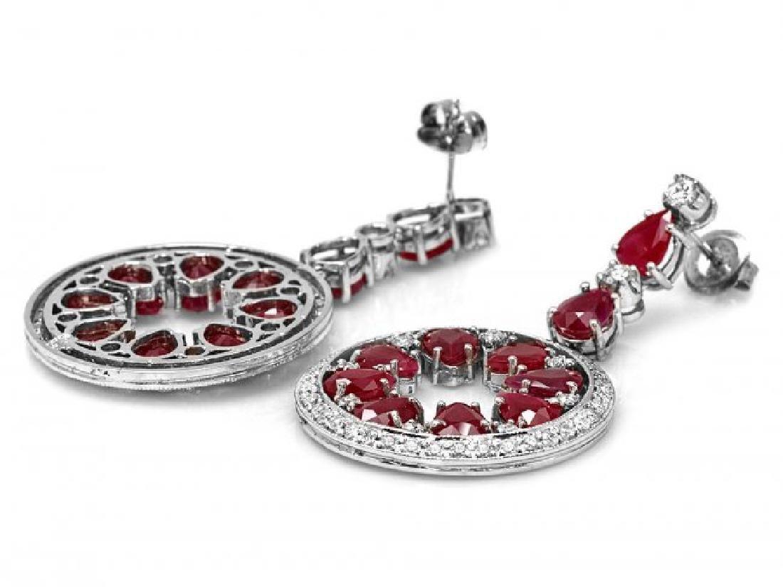 14k Gold 18.50ct Ruby 1.60ct Diamond Earrings - 2