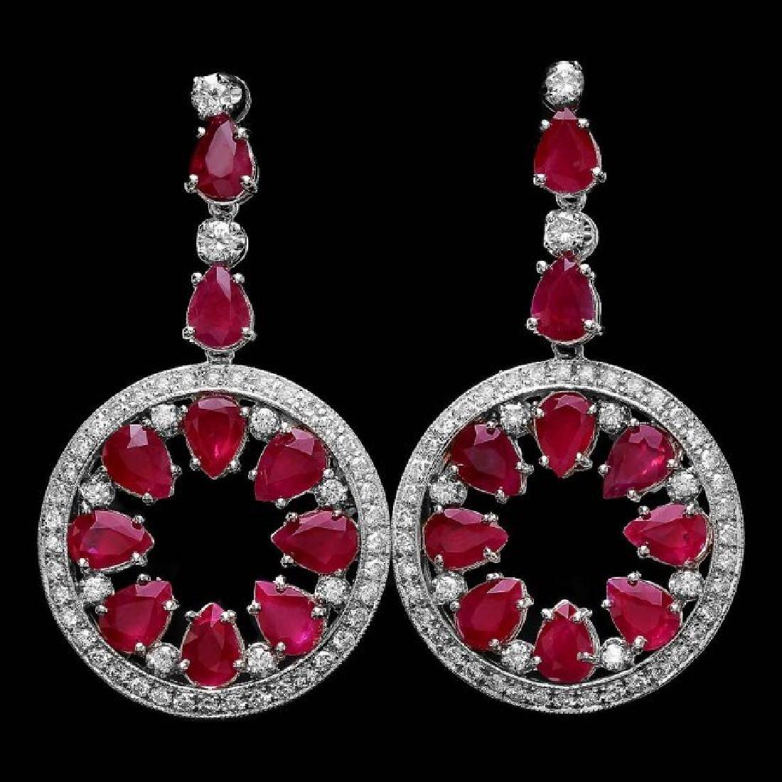 14k Gold 18.50ct Ruby 1.60ct Diamond Earrings - 3