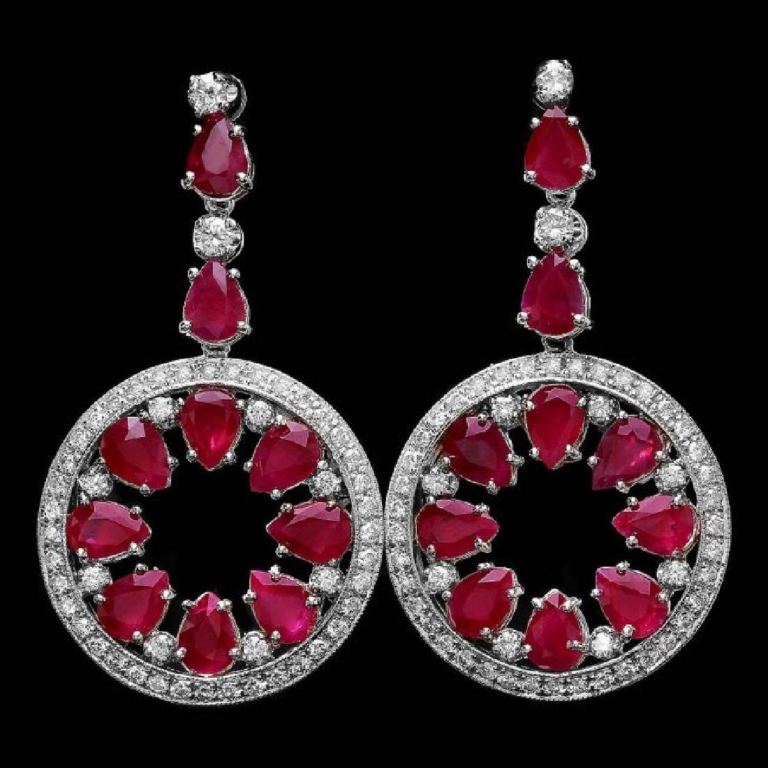 14k Gold 18.50ct Ruby 1.60ct Diamond Earrings - 3