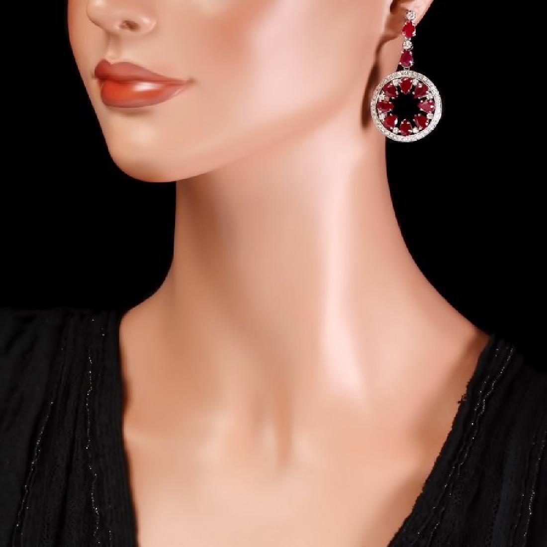14k Gold 18.50ct Ruby 1.60ct Diamond Earrings - 4