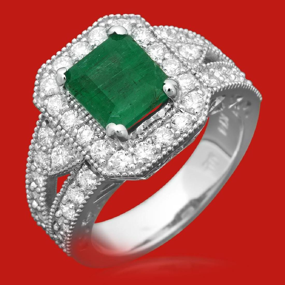 14k Gold 2.00ct Emerald 1.18ct Diamond Ring