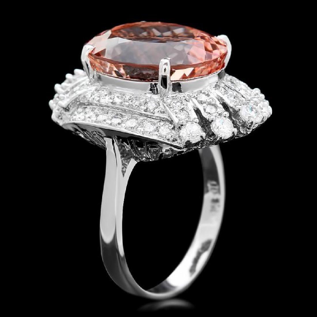 14k Gold 10.40ct Morganite 1.30ct Diamond Ring - 2