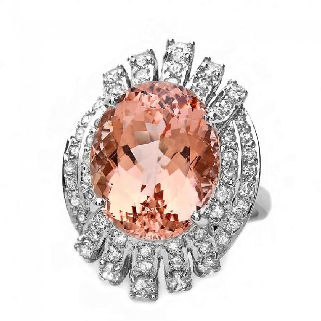 14k Gold 10.40ct Morganite 1.30ct Diamond Ring - 3