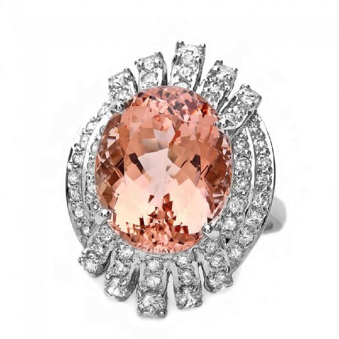 14k Gold 10.40ct Morganite 1.30ct Diamond Ring - 3