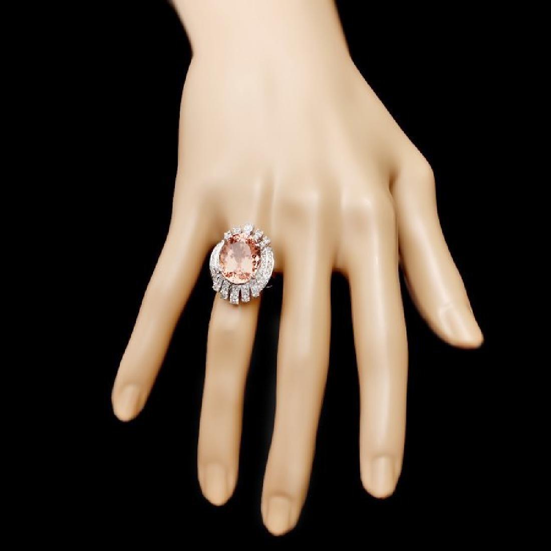 14k Gold 10.40ct Morganite 1.30ct Diamond Ring - 4