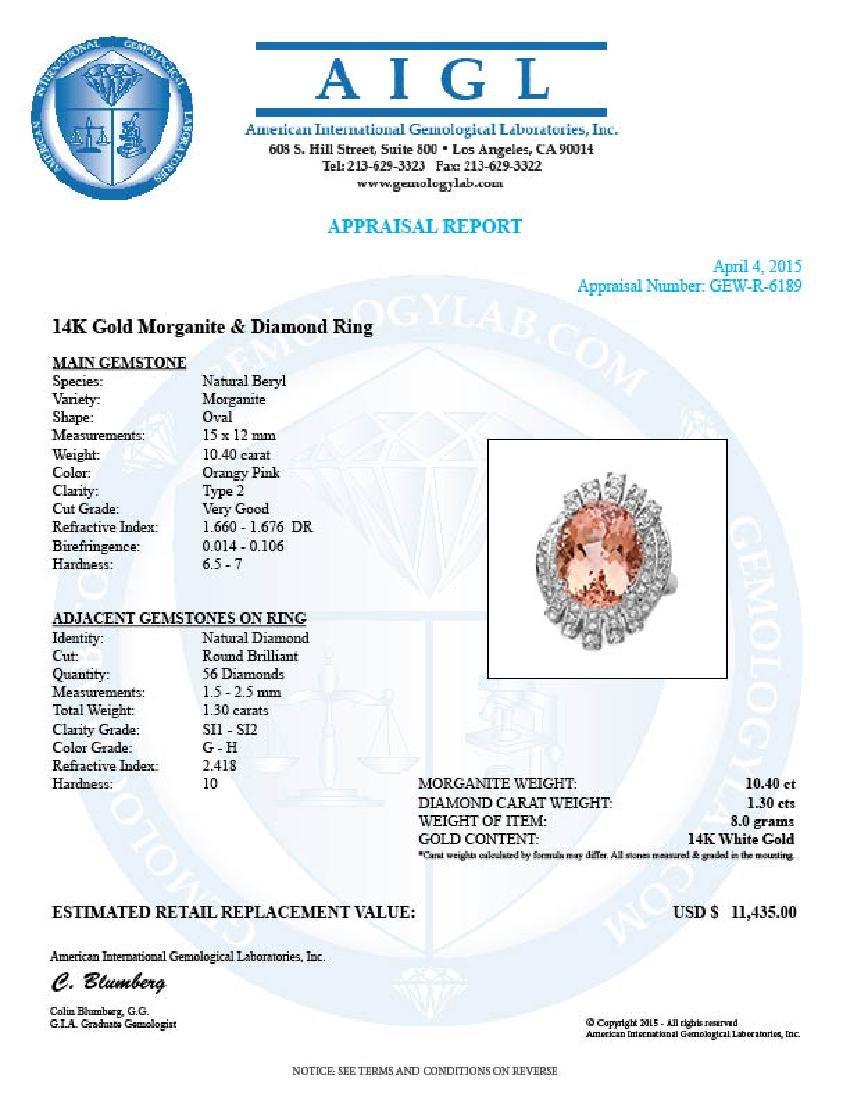 14k Gold 10.40ct Morganite 1.30ct Diamond Ring - 5