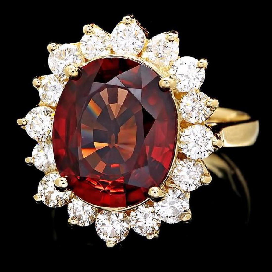 14k Yellow Gold 7.00ct Zircon 1.60ct Diamond Ring