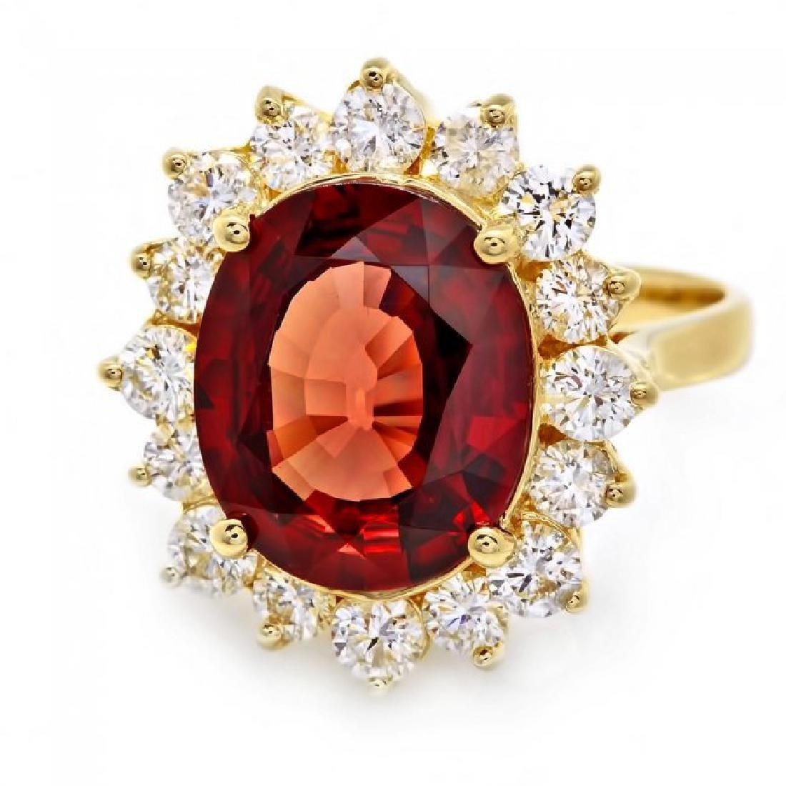 14k Yellow Gold 7.00ct Zircon 1.60ct Diamond Ring - 2