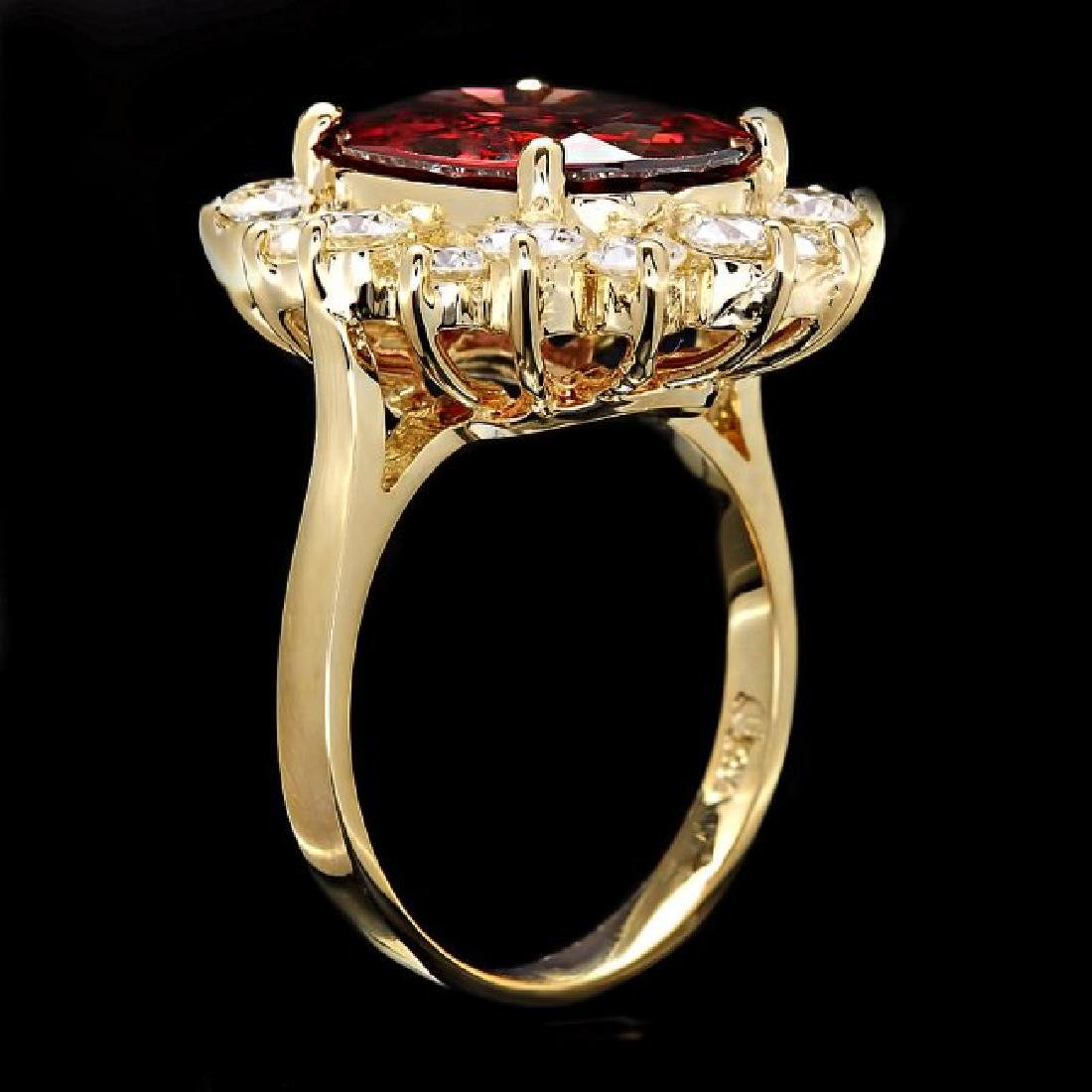14k Yellow Gold 7.00ct Zircon 1.60ct Diamond Ring - 3