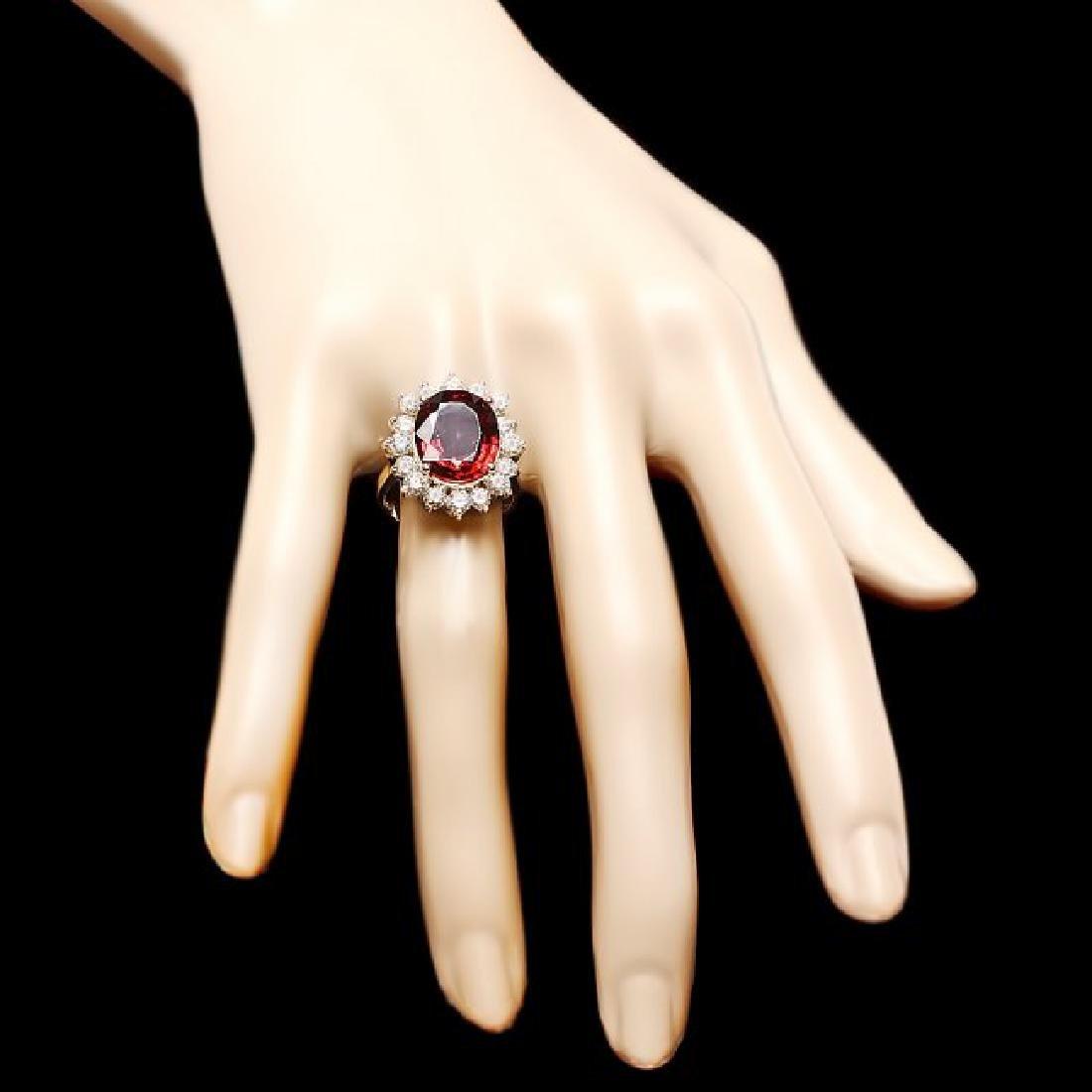14k Yellow Gold 7.00ct Zircon 1.60ct Diamond Ring - 4