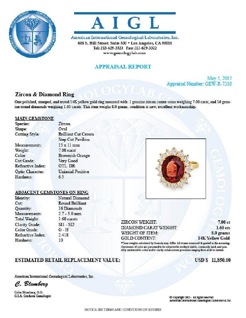 14k Yellow Gold 7.00ct Zircon 1.60ct Diamond Ring - 5