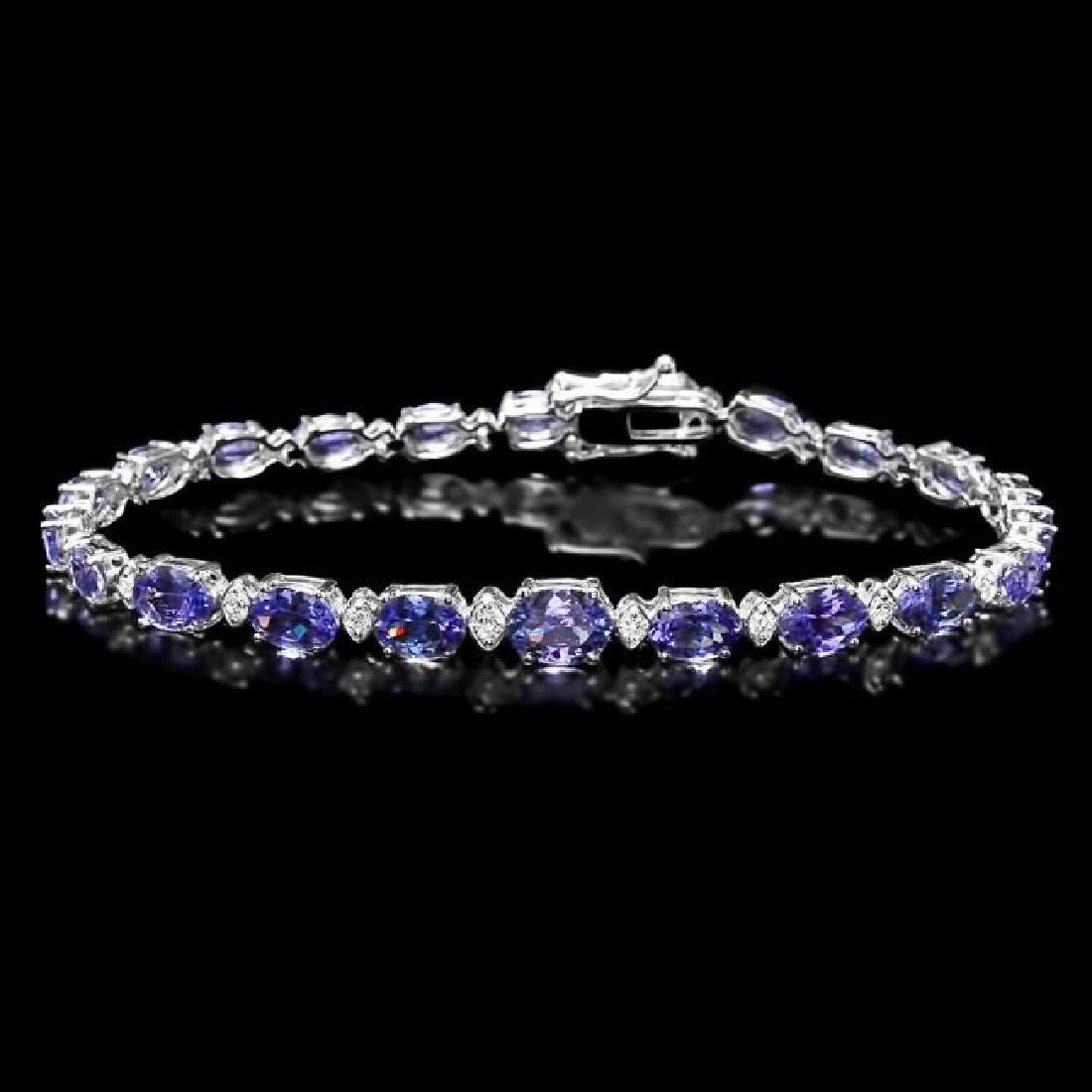 14k 11.00ct Tanzanite 0.75ct Diamond Bracelet