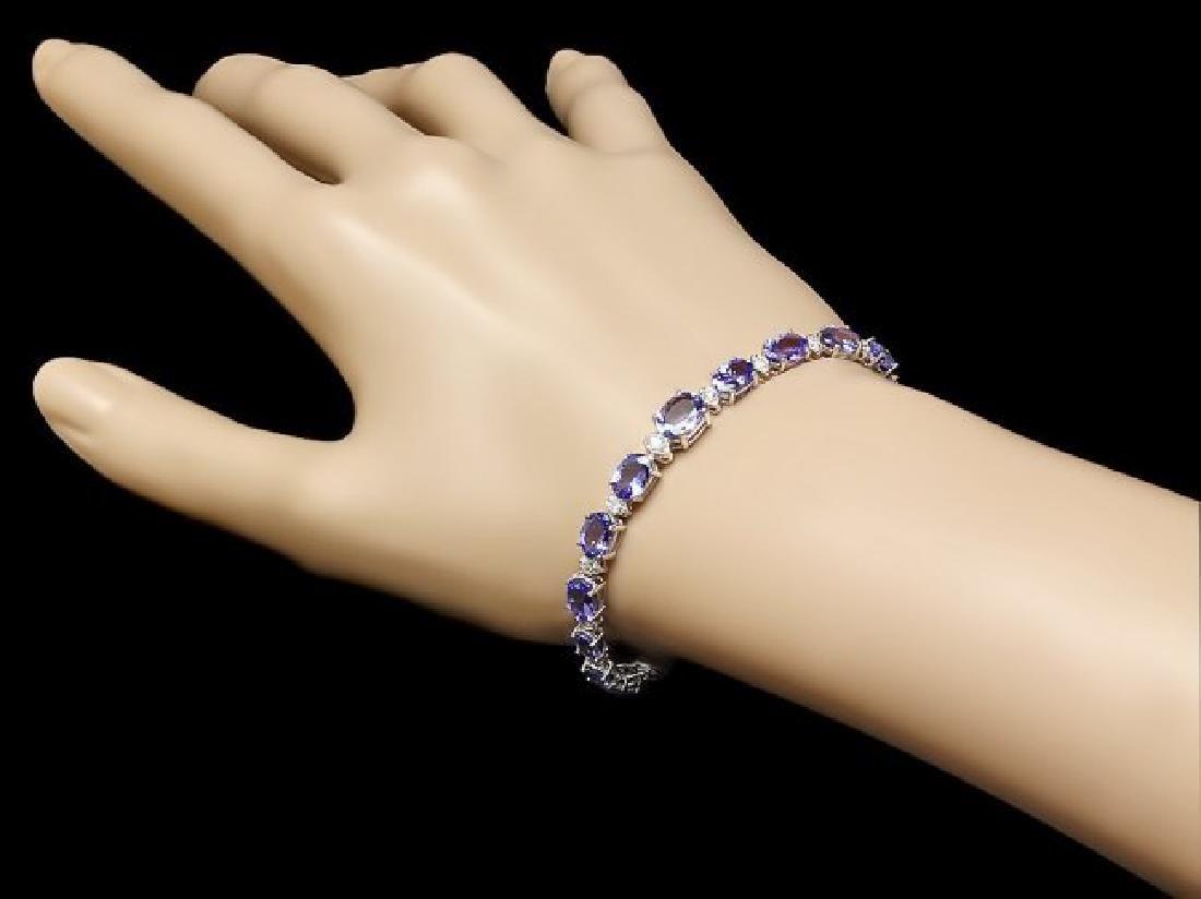 14k 11.00ct Tanzanite 0.75ct Diamond Bracelet - 4