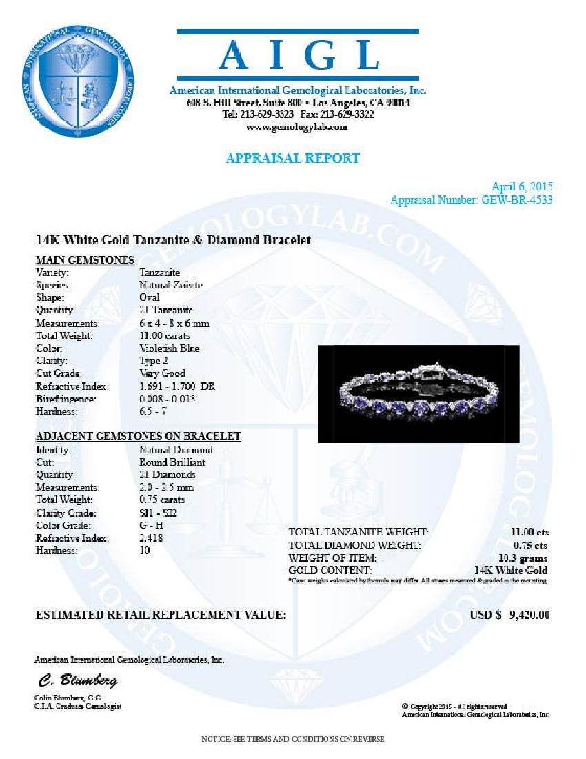 14k 11.00ct Tanzanite 0.75ct Diamond Bracelet - 6