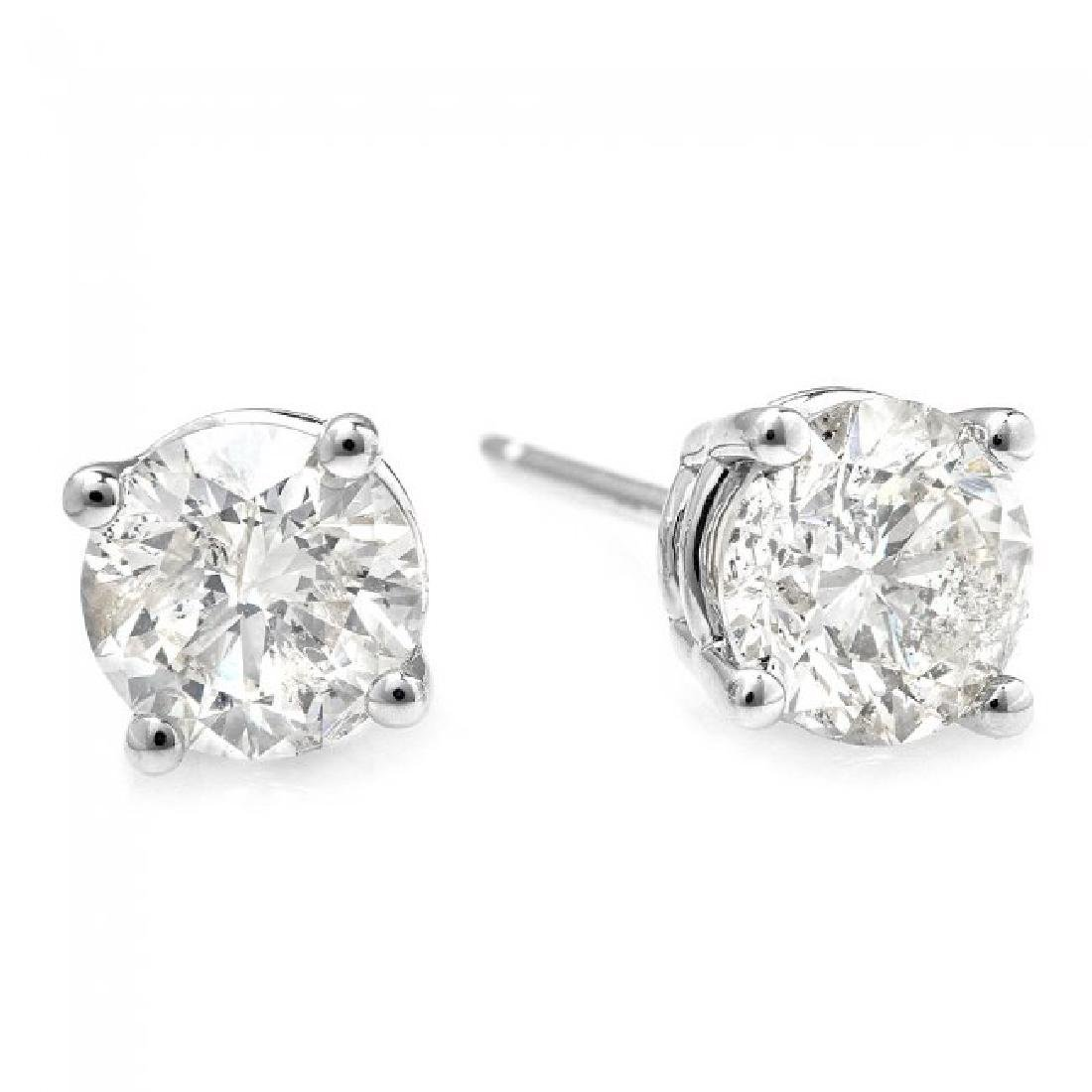 14k White Gold 1.00ct Diamond Earrings - 2