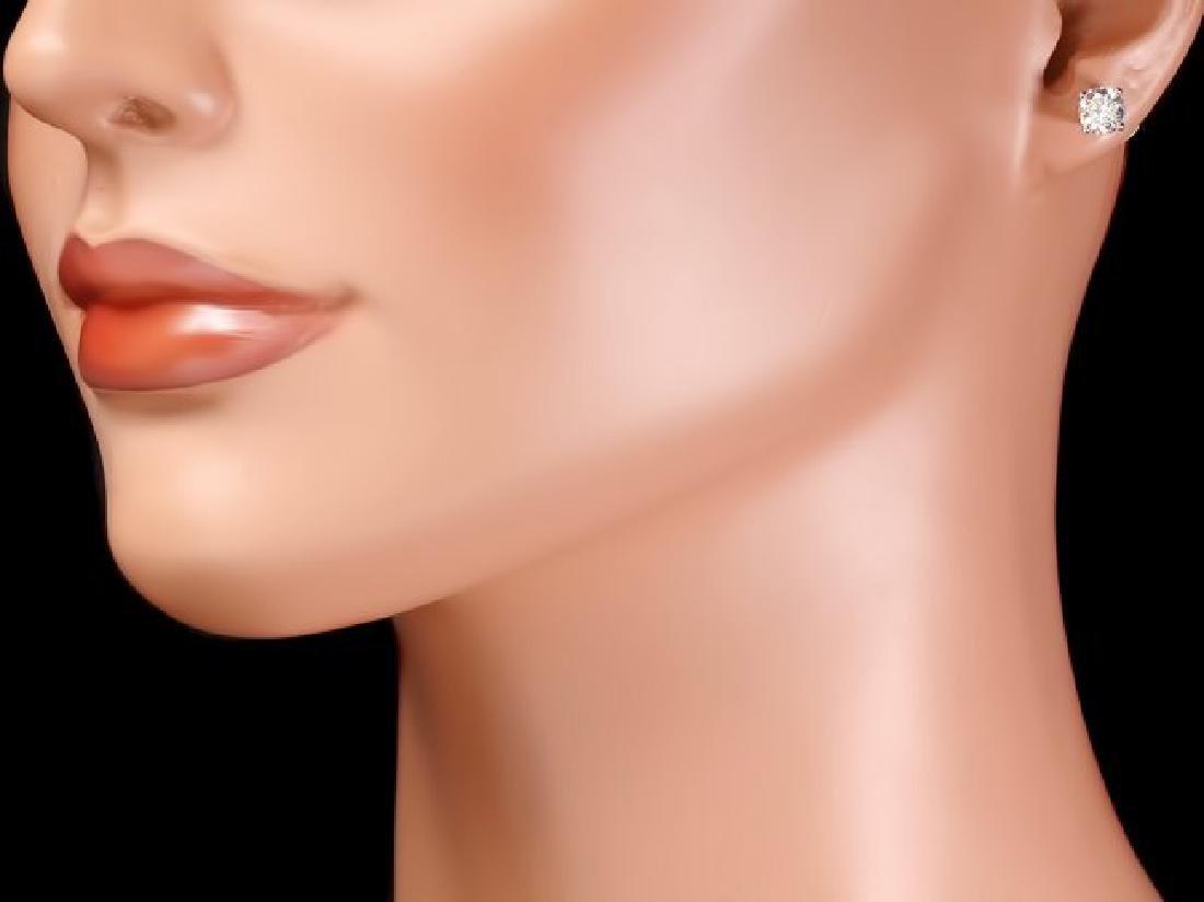 14k White Gold 1.00ct Diamond Earrings - 4