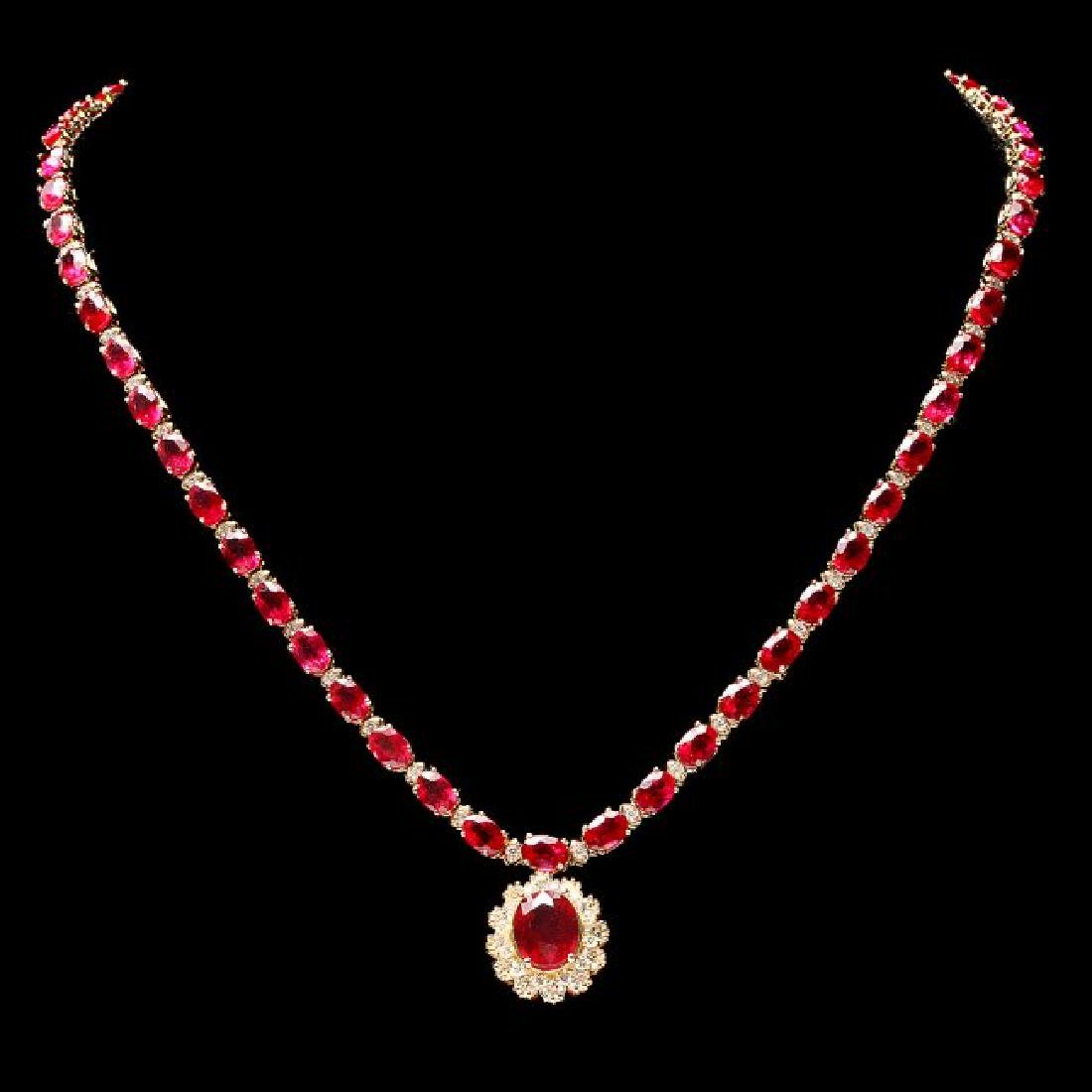 14k Gold 40.5ct Ruby 2.55ct Diamond Necklace