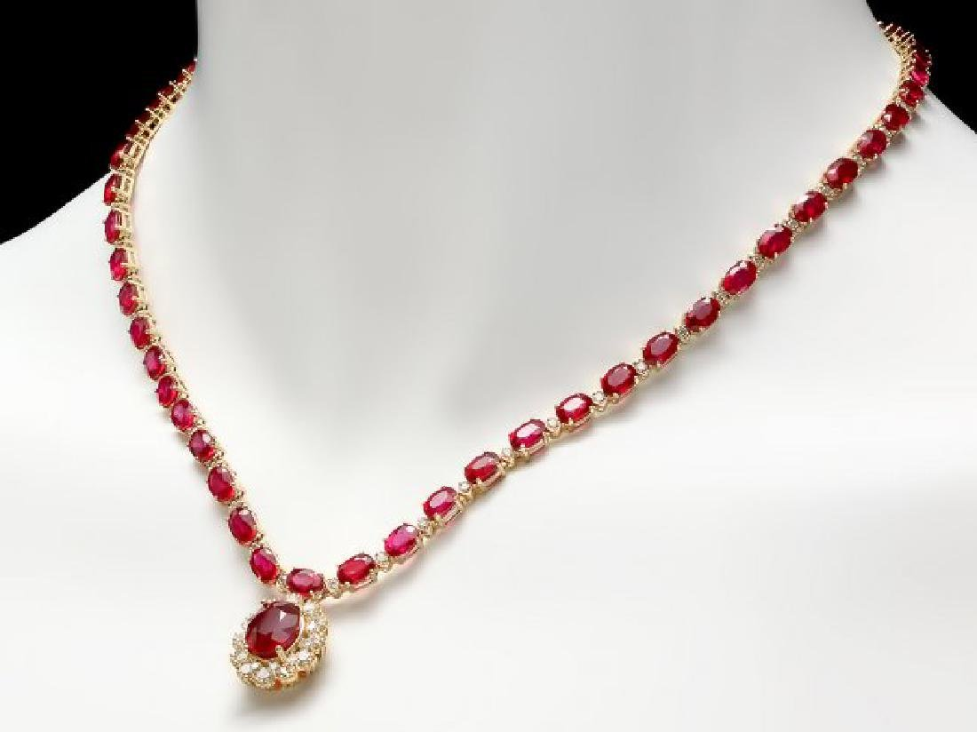 14k Gold 40.5ct Ruby 2.55ct Diamond Necklace - 2