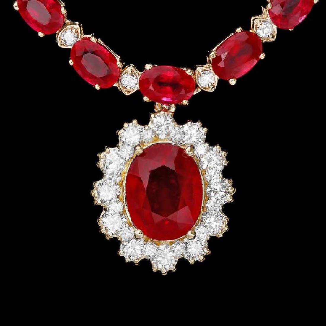 14k Gold 40.5ct Ruby 2.55ct Diamond Necklace - 3