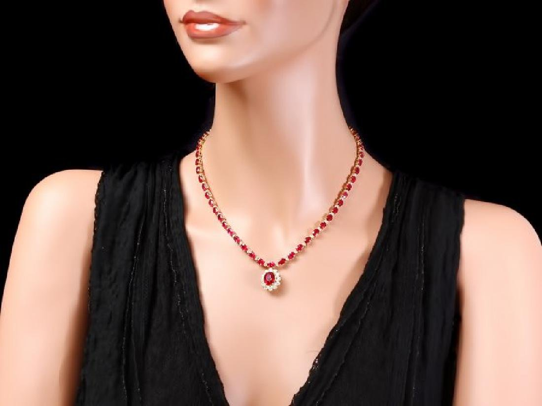 14k Gold 40.5ct Ruby 2.55ct Diamond Necklace - 4