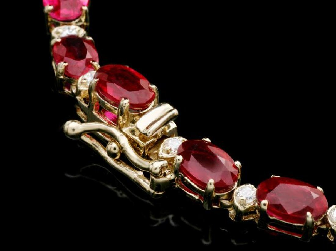 14k Gold 40.5ct Ruby 2.55ct Diamond Necklace - 5