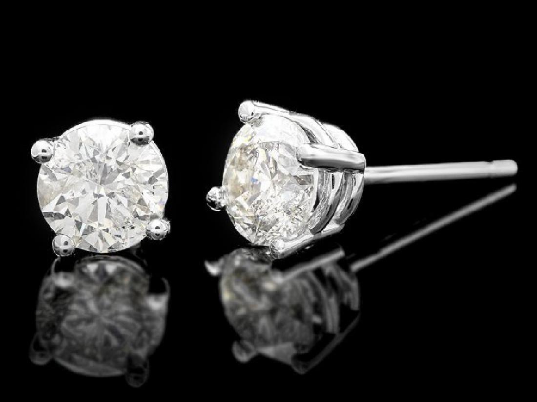 14k White Gold 1.00ct Diamond Earrings - 2