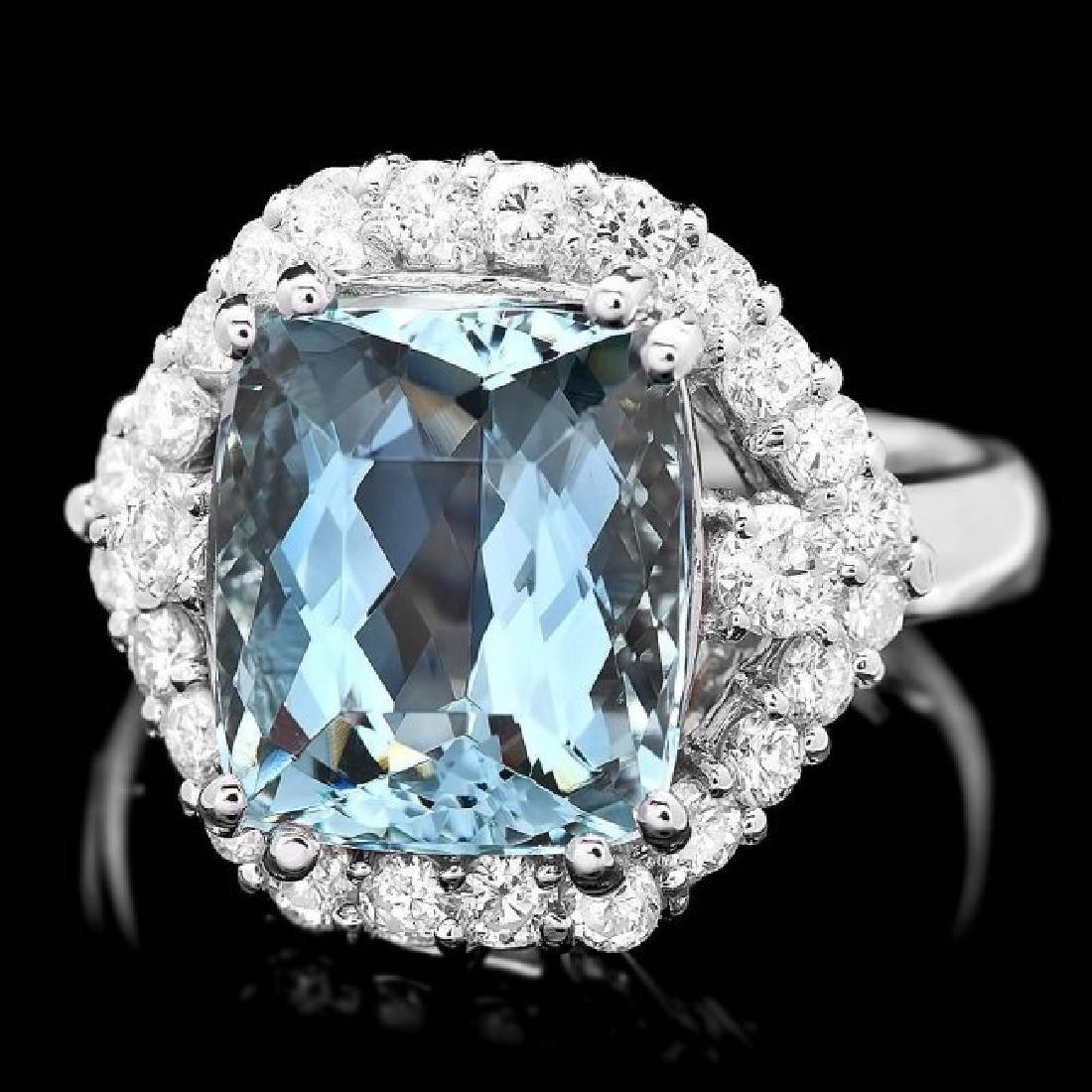 14k Gold 5.00ct Aquamarine 1.00ct Diamond Ring