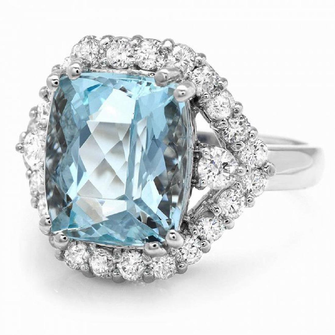14k Gold 5.00ct Aquamarine 1.00ct Diamond Ring - 3