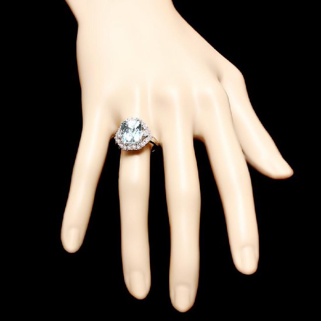 14k Gold 5.00ct Aquamarine 1.00ct Diamond Ring - 4