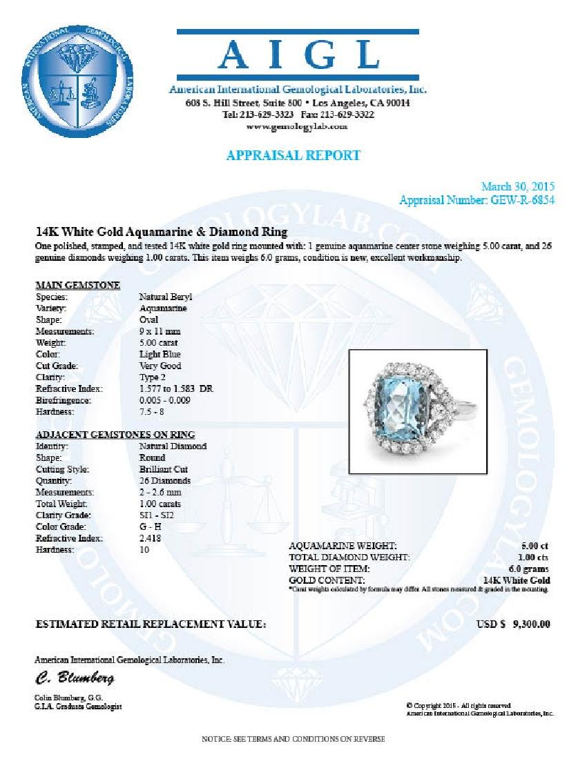 14k Gold 5.00ct Aquamarine 1.00ct Diamond Ring - 5