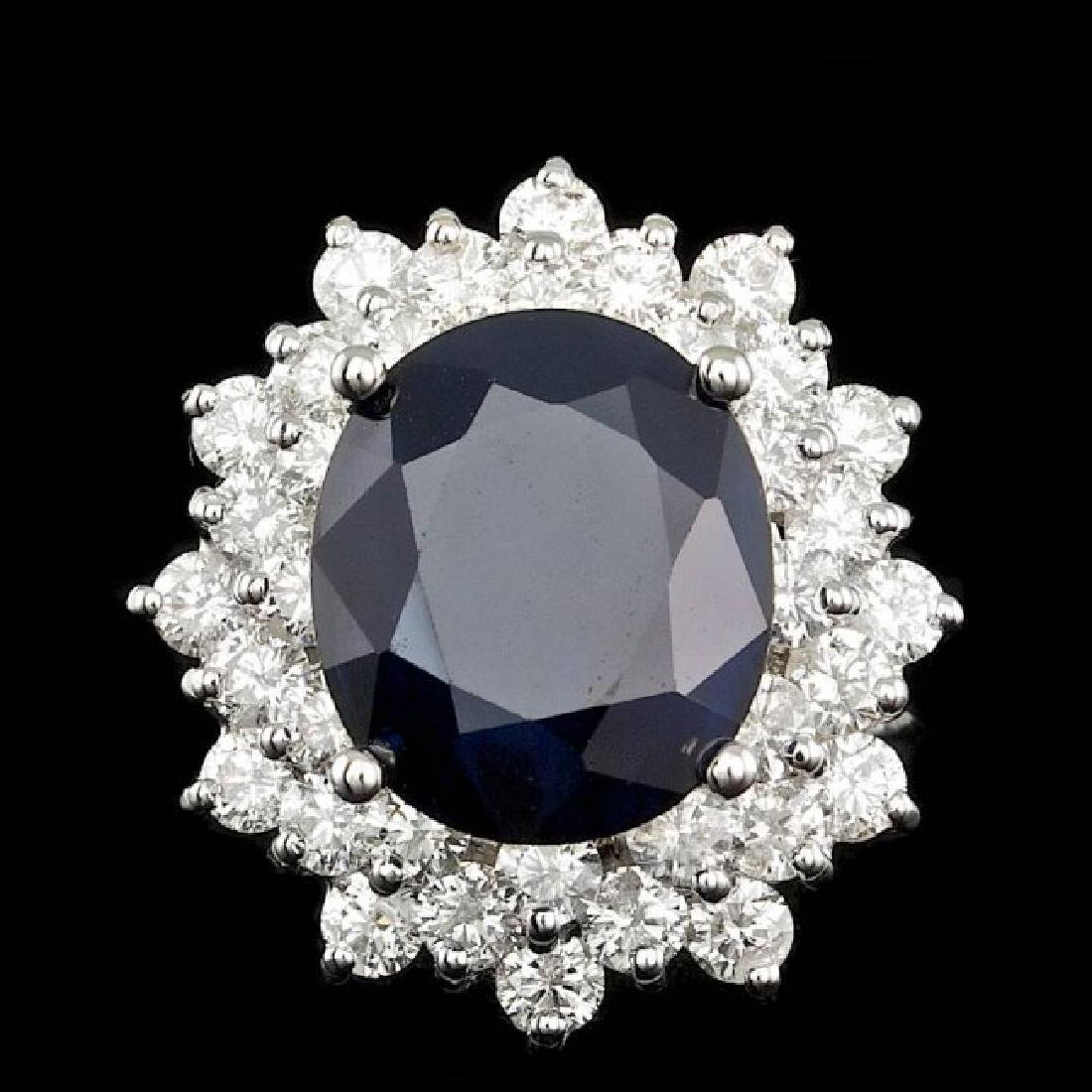 14k Gold 7.00ct Sapphire 2.55ct Diamond Ring