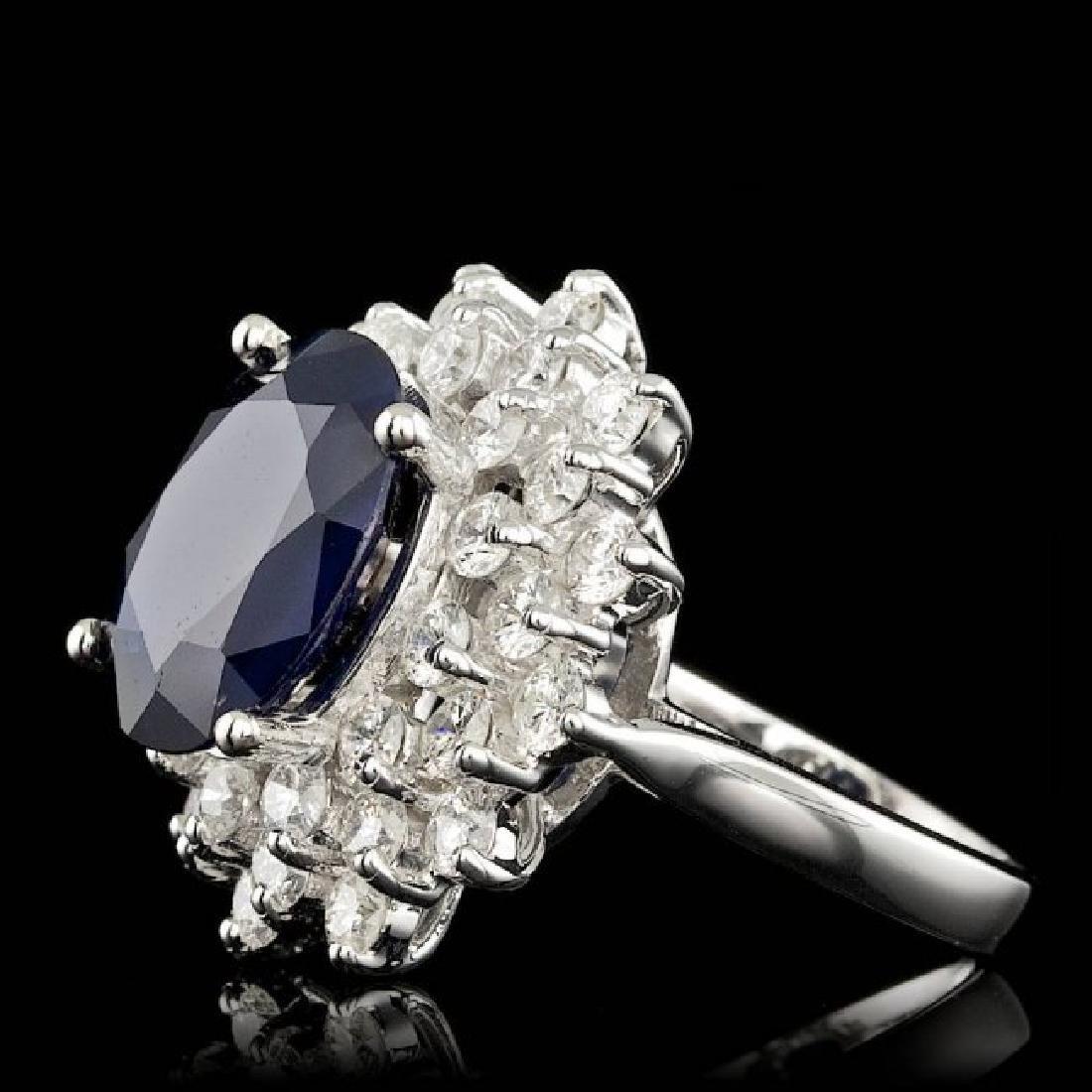 14k Gold 7.00ct Sapphire 2.55ct Diamond Ring - 2