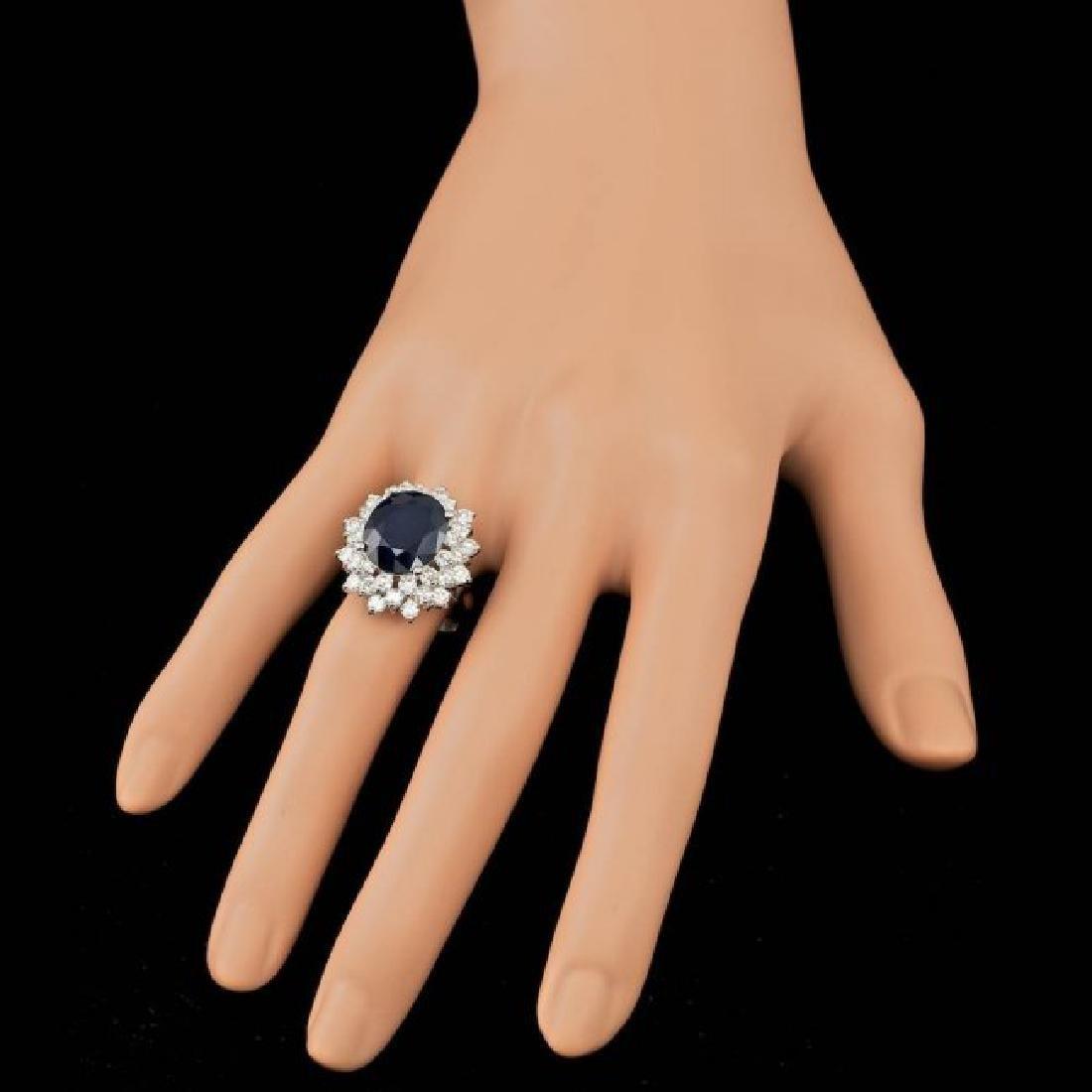 14k Gold 7.00ct Sapphire 2.55ct Diamond Ring - 3