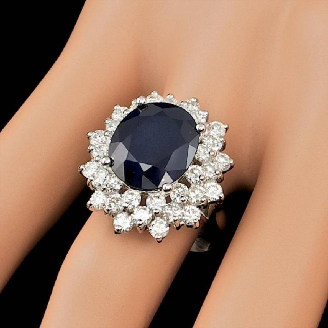 14k Gold 7.00ct Sapphire 2.55ct Diamond Ring - 4