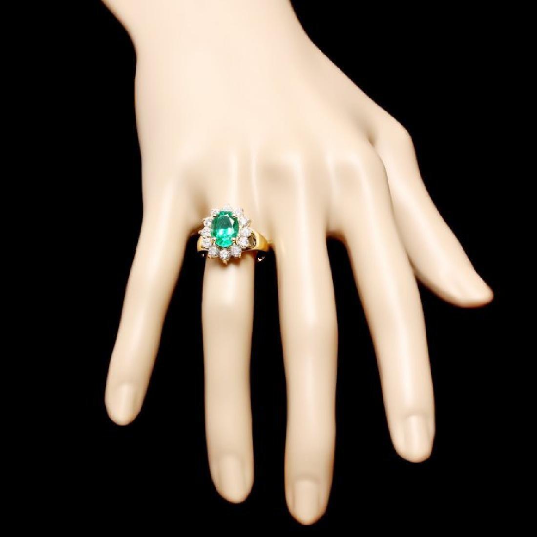 14k Gold 2.70ct Emerald 1.30ct Diamond Ring - 4