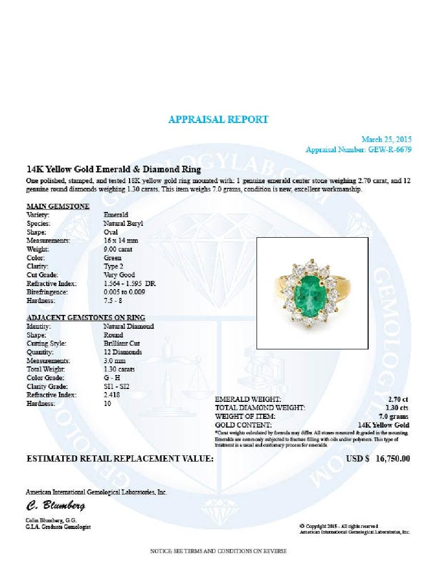 14k Gold 2.70ct Emerald 1.30ct Diamond Ring - 5