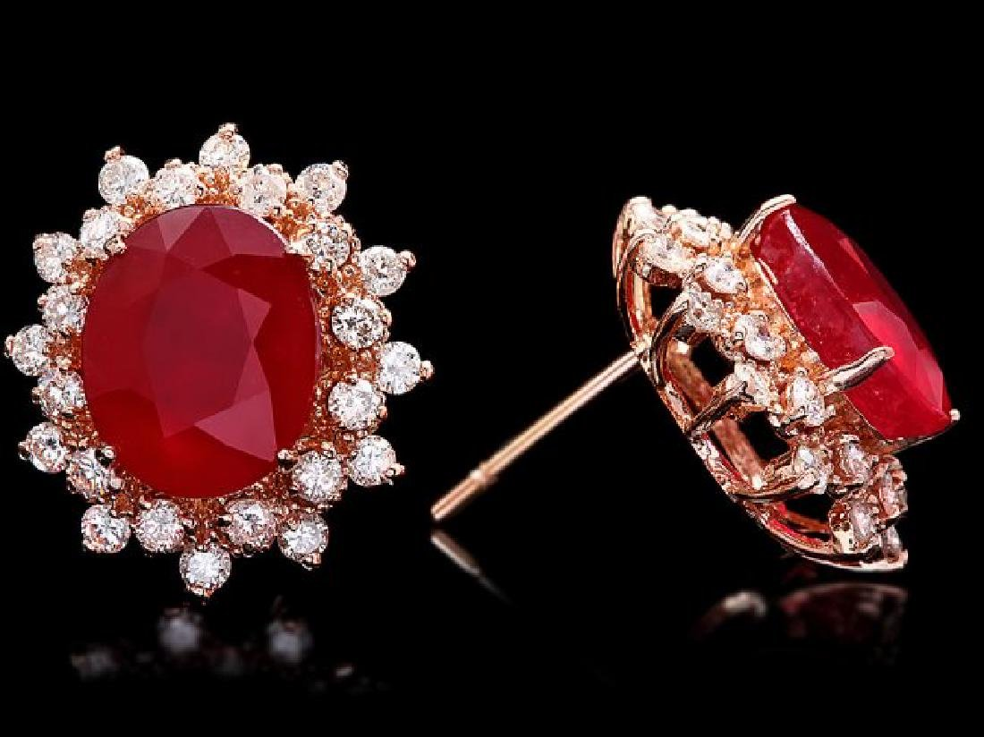 14k Rose 10.00ct Ruby 1.40ct Diamond Earrings - 3