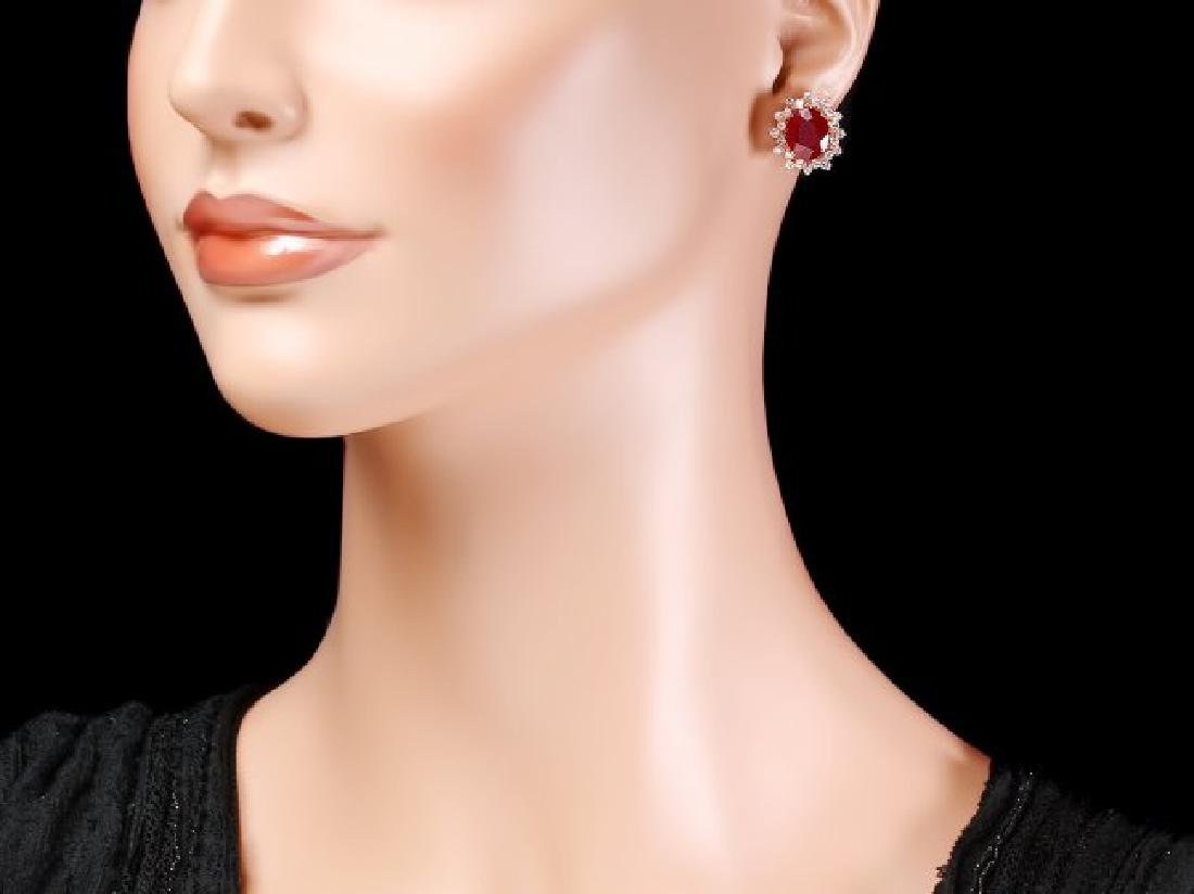 14k Rose 10.00ct Ruby 1.40ct Diamond Earrings - 4