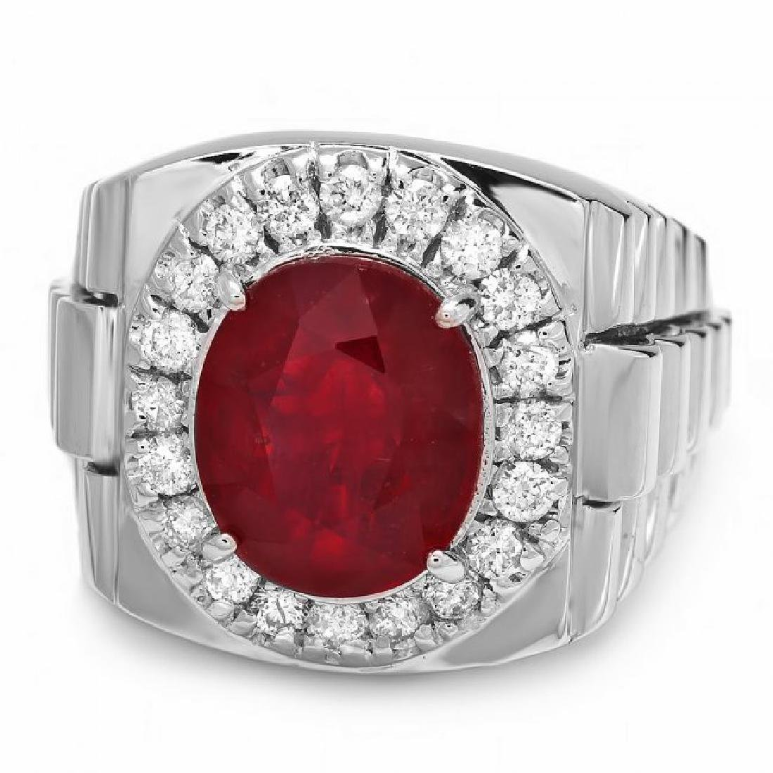 14k Gold 7.00ct Ruby 0.90ct Diamond Mens Ring - 2