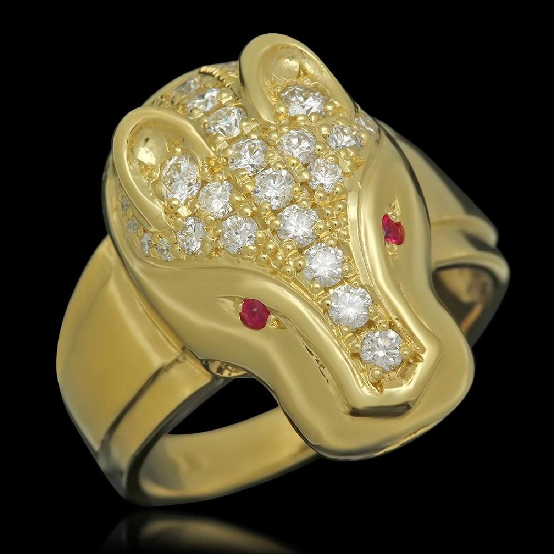 18K Gold 1.08 Diamond Ruby Panther Ring