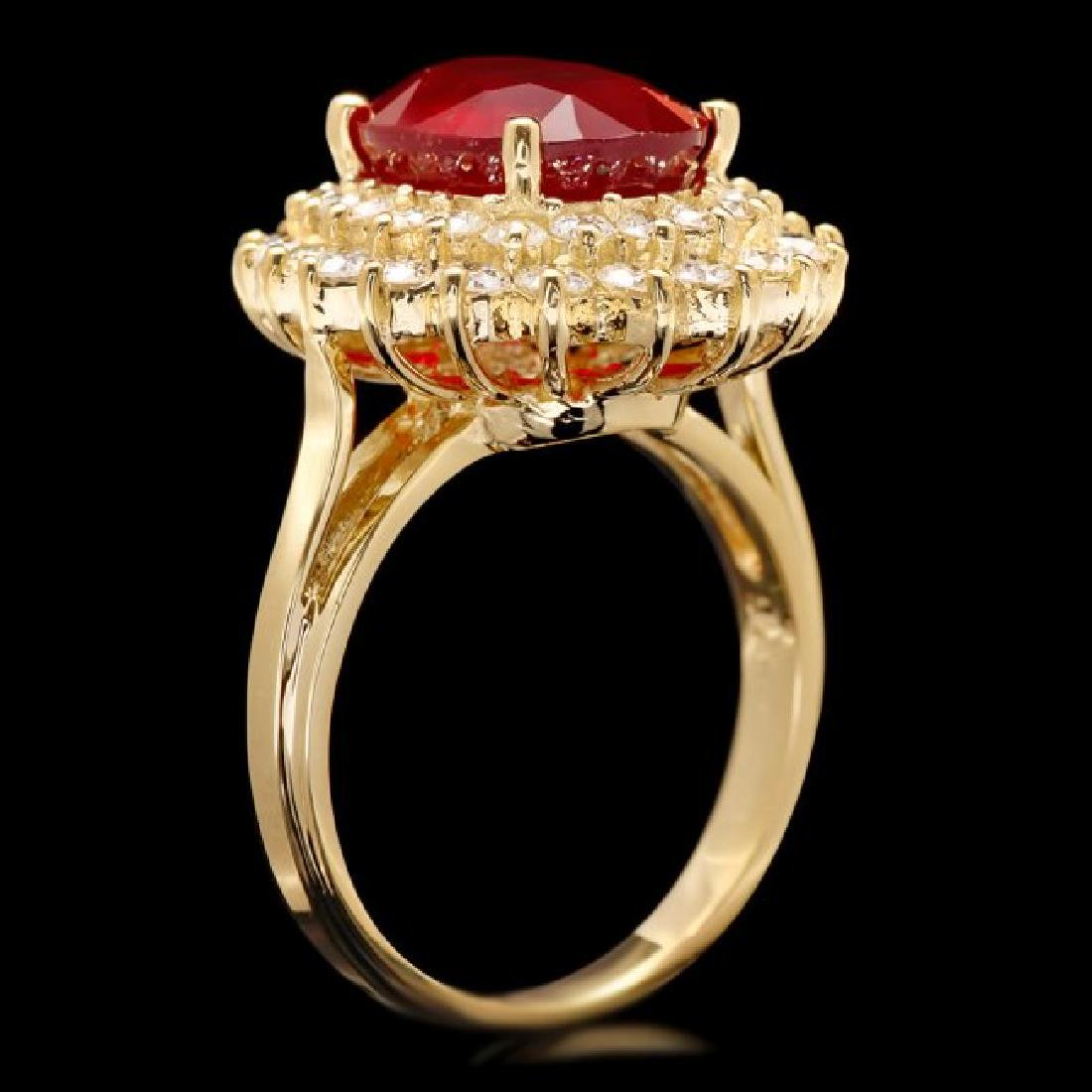 14k Yellow Gold 6.20ct Ruby 1.50ct Diamond Ring - 2