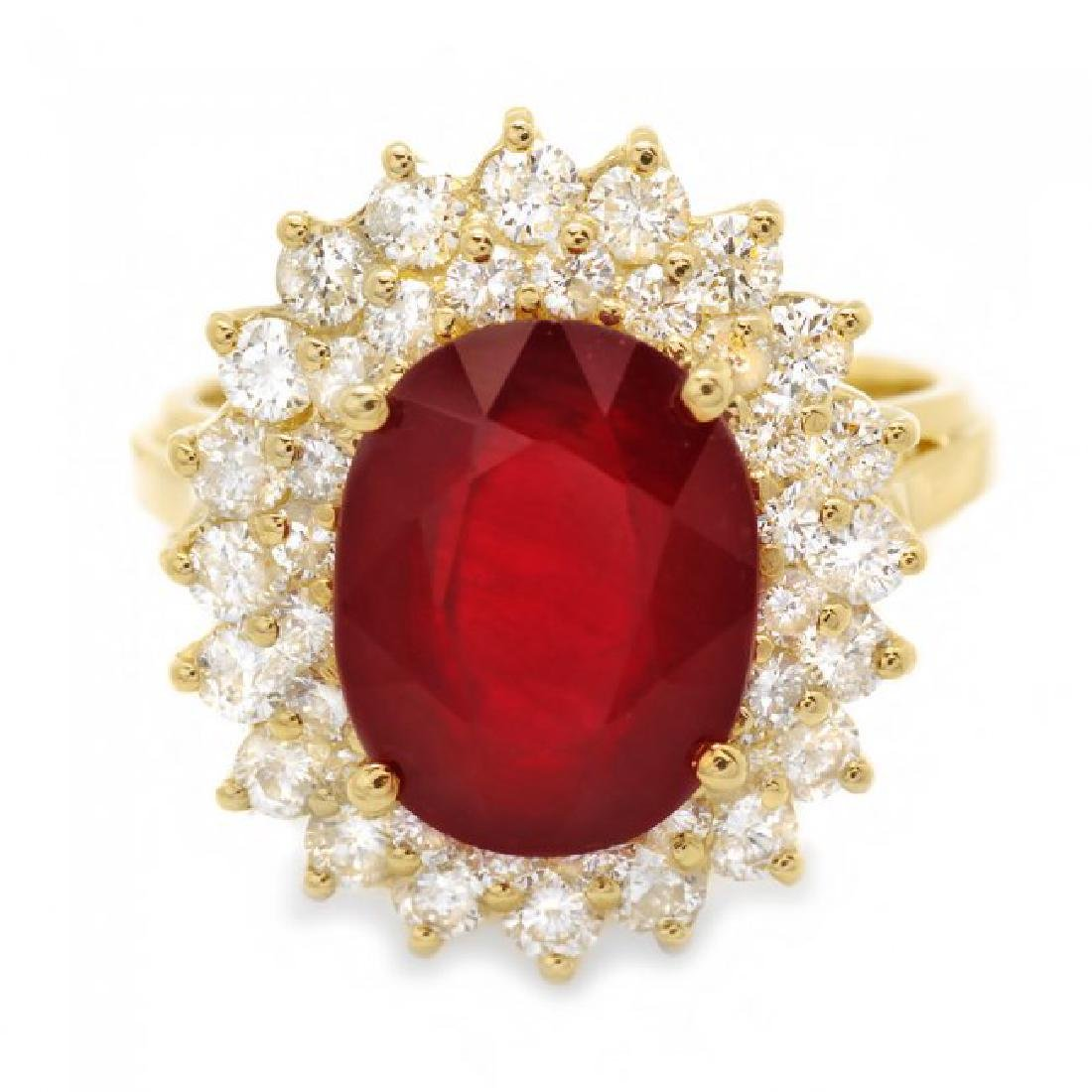 14k Yellow Gold 6.20ct Ruby 1.50ct Diamond Ring - 3
