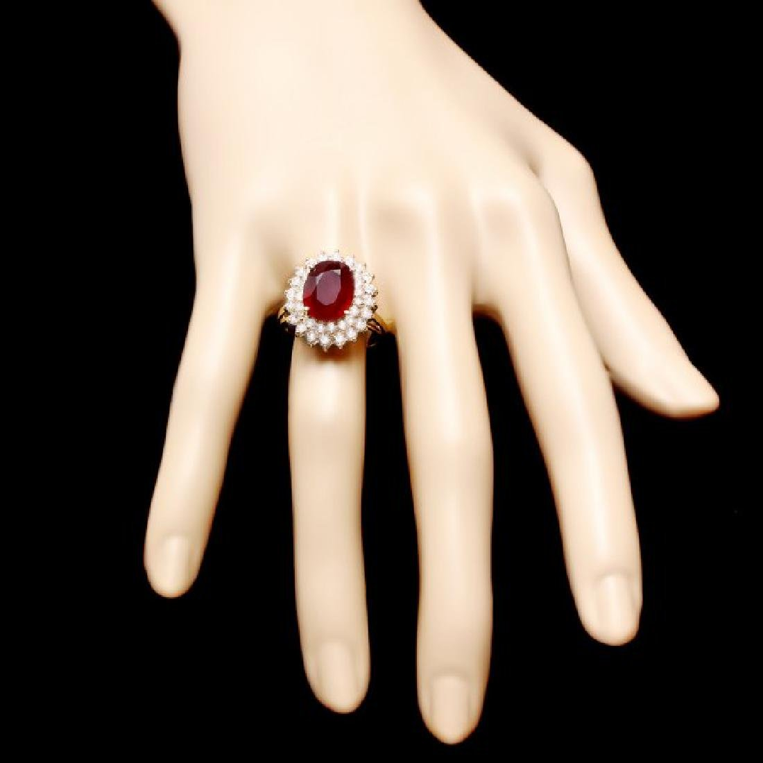 14k Yellow Gold 6.20ct Ruby 1.50ct Diamond Ring - 4
