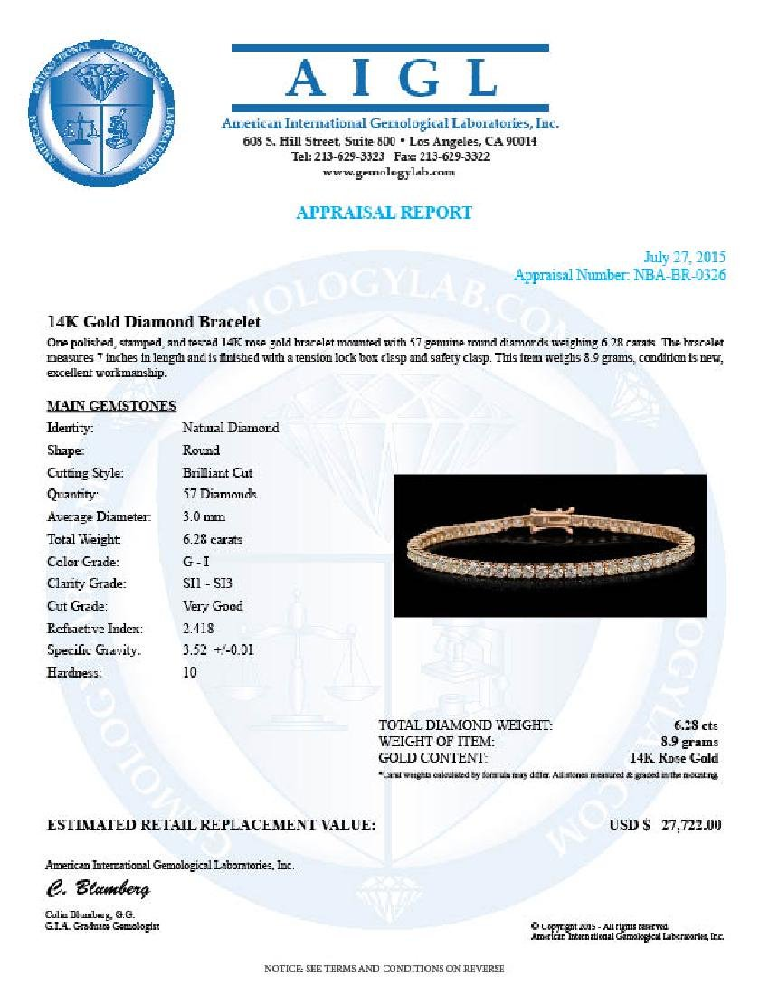 14K Gold 6.28ct Diamond Bracelet - 4