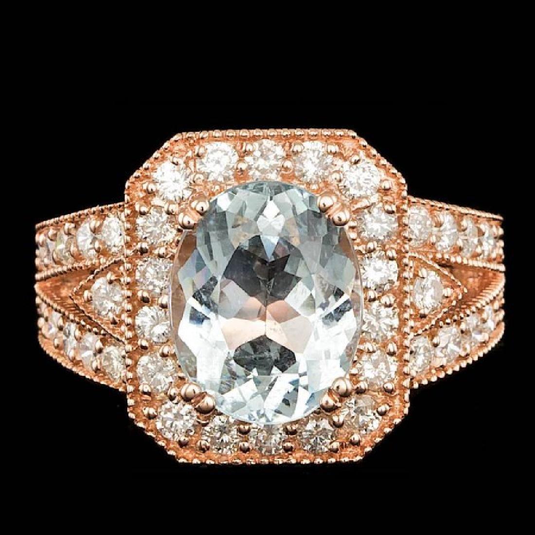 14k Rose 3.00ct Aquamarine 1.30ct Diamond Ring