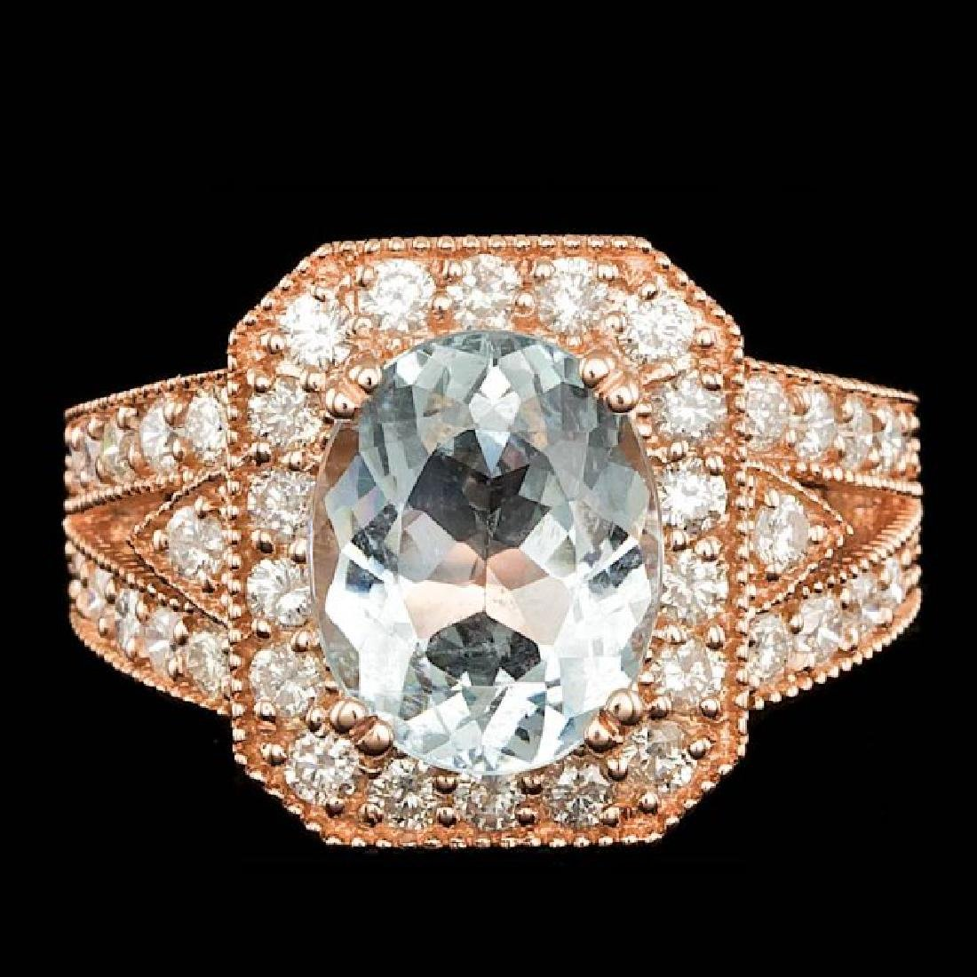 14k Rose 3.00ct Aquamarine 1.30ct Diamond Ring
