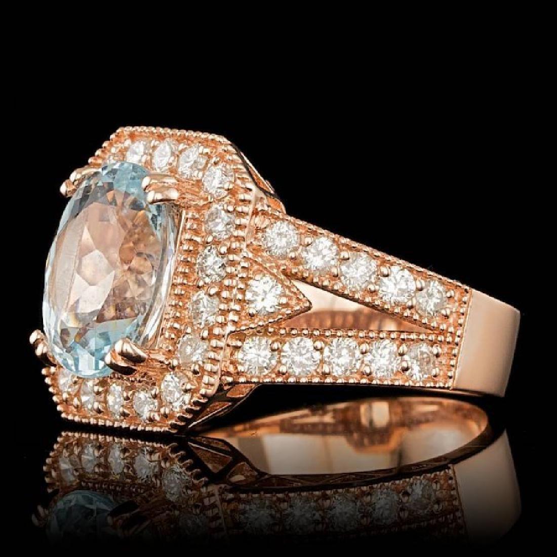 14k Rose 3.00ct Aquamarine 1.30ct Diamond Ring - 2