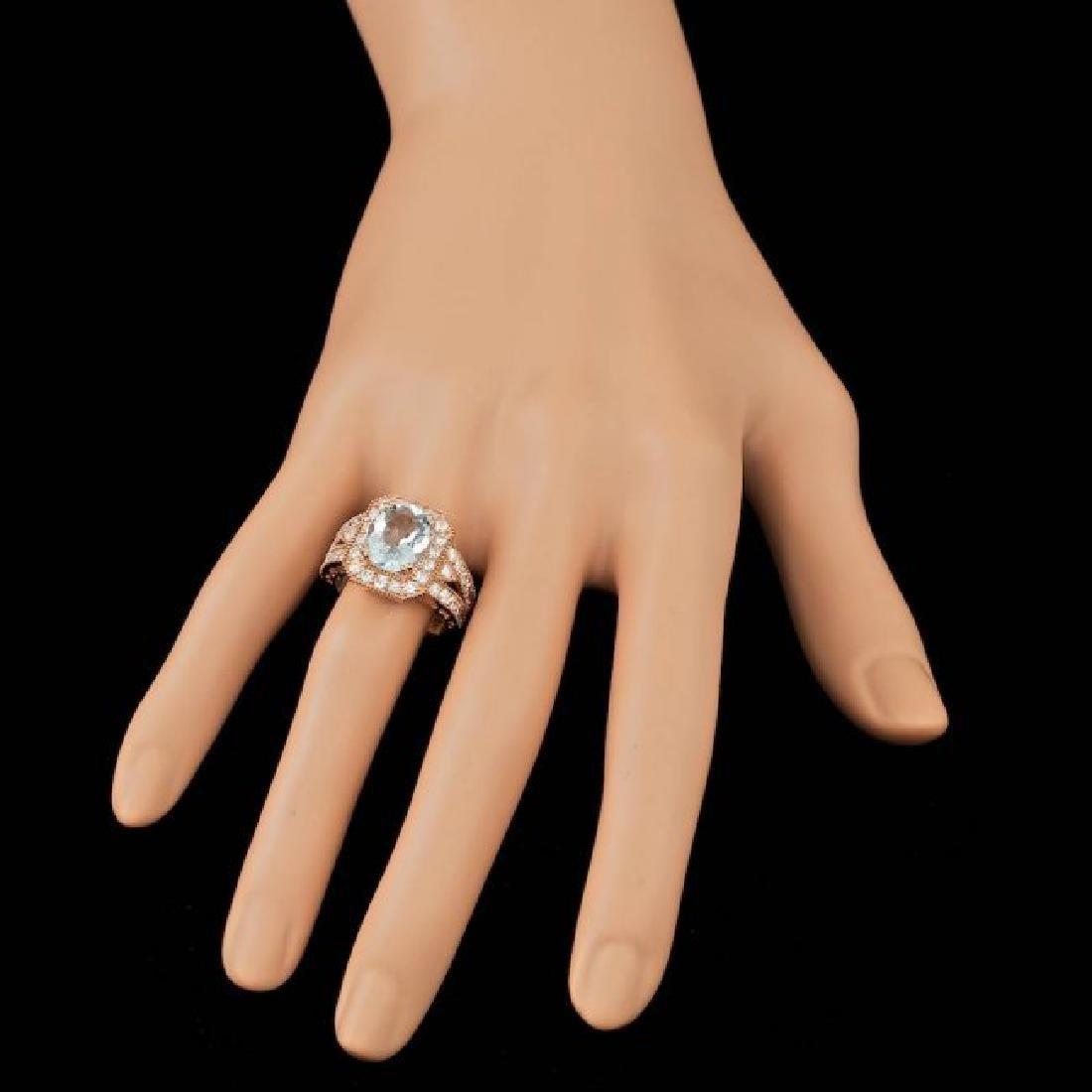 14k Rose 3.00ct Aquamarine 1.30ct Diamond Ring - 3