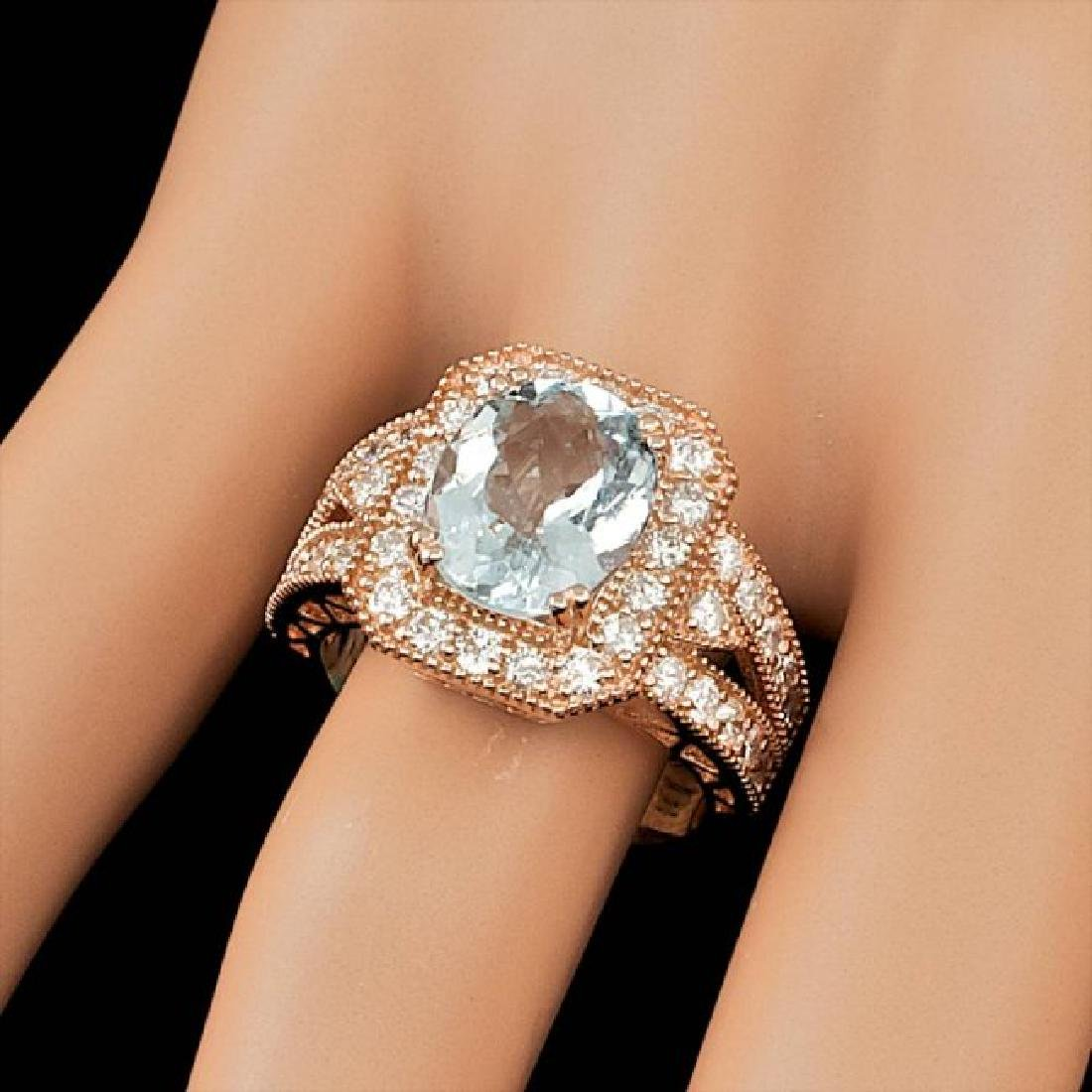 14k Rose 3.00ct Aquamarine 1.30ct Diamond Ring - 4