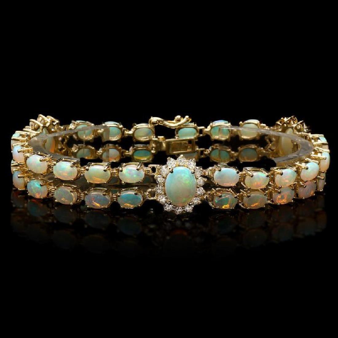 14k Gold 12.5ct Opal 1.75ct Diamond Bracelet